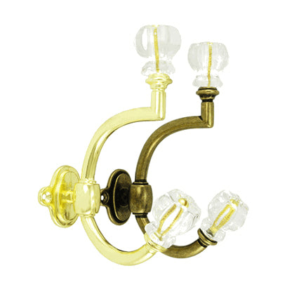 Glass & Brass Coat Hook: Crystal Clear Glass