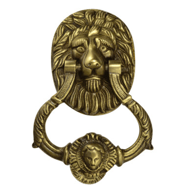 Lion Door Knocker 4 3/4 Inch (3 3/4 Inch c-c) in Solid Brass (Antique Brass Finish)