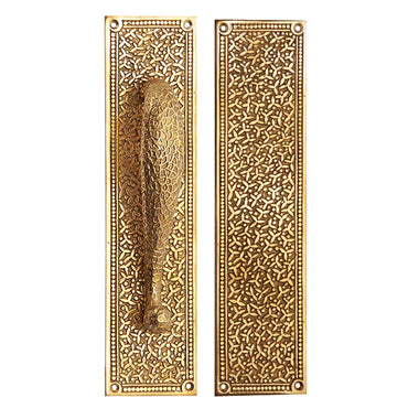 12 Inch Solid Brass Rice Pattern Door Pull and Push Plate Set (Lacquered Brass Finish)