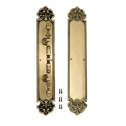 18 Inch Solid Brass Traditional Fleur-De-Lis Door Pull & Push Plate Set (Antique Brass Finish)