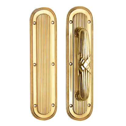 10 1/2 Inch Art Deco Style Door Pull and Push Plate (Polished Brass Finish)