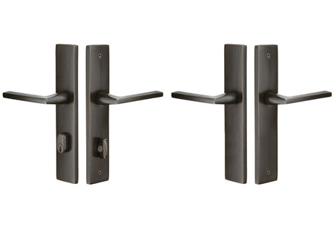Solid Brass Modern Rectangular Style Stretto Passage Entryway Set (Oil Rubbed Bronze Finish)