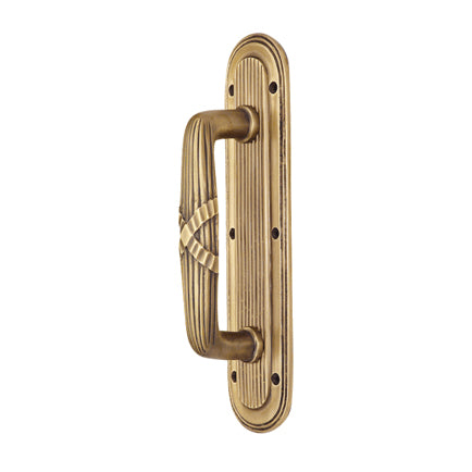 10 1/2 Inch Art Deco Style Door Pull and Plate (Antique Brass Finish)