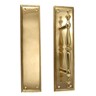 11 1/2 Inch Georgian Roped Style Door Pull and Push Plate (Polished Brass Finish)