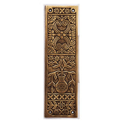 10 Inch Broken Leaf Pattern Solid Brass Push Plate (Antique Brass)