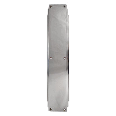 14 Inch Solid Brass Art Deco Skyscraper Push Plate (Polished Chrome Finish)