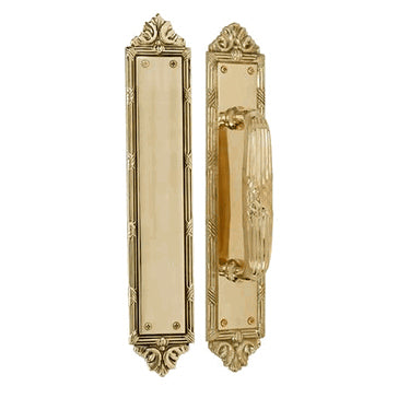13 3/4 Inch Solid Brass Ribbon & Reed Door Push and Pull Plate Set (Lacquered Brass Finish)