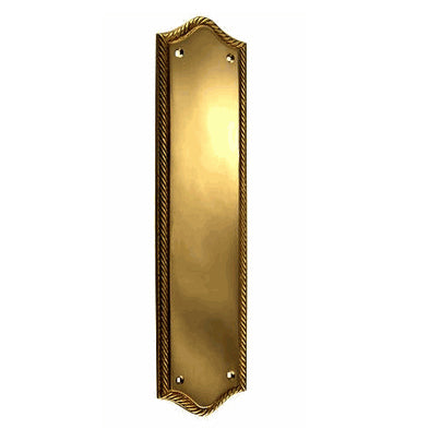 12 Inch Georgian Oval Roped Style Door Push Plate (Antique Brass)
