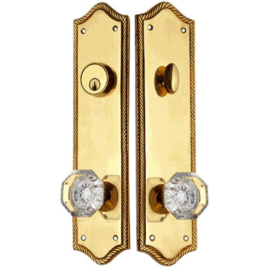 Georgian Roped Oval Deadbolt Entryway Set (Polished Brass Finish)
