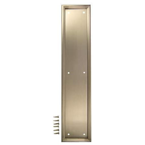 15 Inch Solid Brass Framed Push Plate (Satin Nickel Finish)