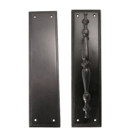11 1/2 Inch Georgian Roped Style Door Pull and Push Plate (Oil Rubbed Bronze Finish)