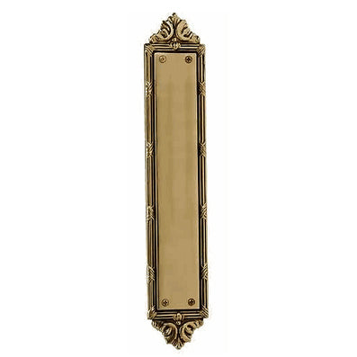 13 3/4 Inch Solid Brass Ribbon & Reed Push Plate (Antique Brass Finish)