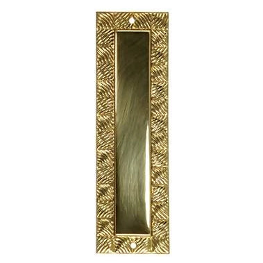 7 Inch Tall Art Deco Style Brass Push Plate (Polished Brass Finish)