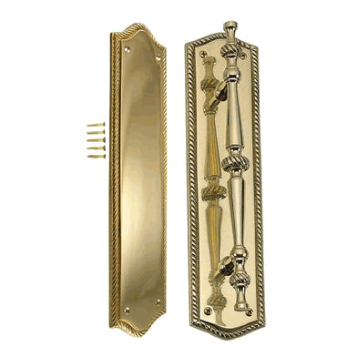 12 Inch Georgian Oval Roped Style Door Pull & Plate Set (Polished Brass Finish)