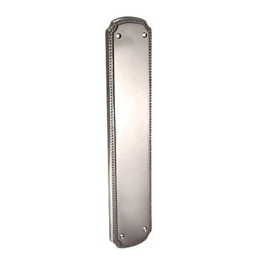 11 1/2 Inch Solid Brass Beaded Push & Plate (Polished Chrome Finish)