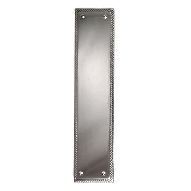11 1/2 Inch Georgian Roped Style Door Push Plate (Brushed Nickel Finish)