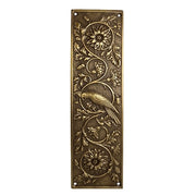 11 1/4 Inch Cockateel Bird and Flower Push Plate Antique Brass Finish