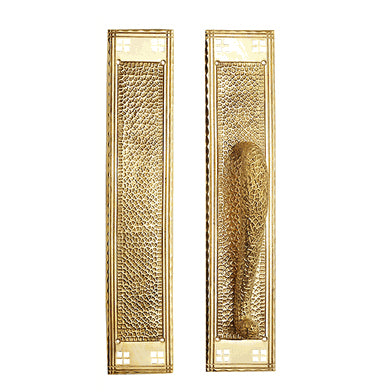 18 Inch Craftsman Style Door Pull & Push Plate Set (Polished Brass Finish)