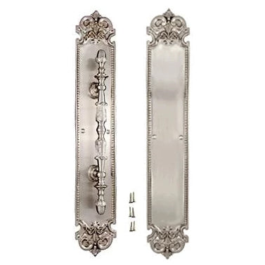 18 Inch Solid Brass Traditional Fleur-De-Lis Door Pull & Push Plate Set (Brushed Nickel Finish)