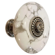 1 3/8 Inch White Howlite Cabinet and Furniture Knob (Polished Chrome Finish)