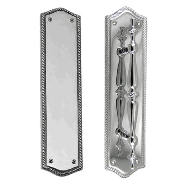 12 Inch Georgian Oval Roped Style Door Pull & Plate Set (Polished Chrome Finish)