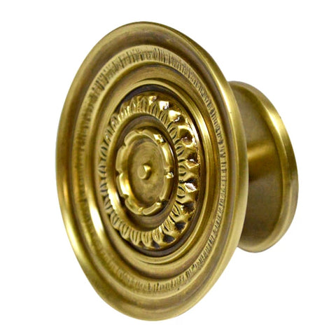 3 1/2 Inch Floral Disc French Window Knob (Antique Brass Finish)