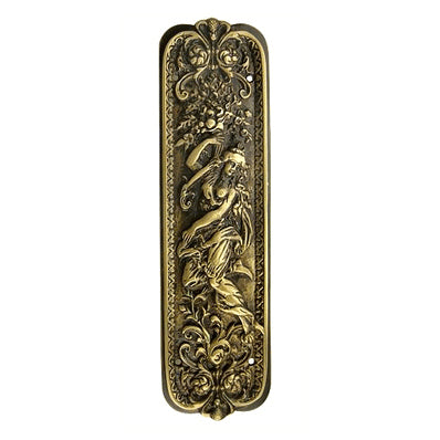 10 1/4 Inch Solid Brass Italianette Style Push Plate (Antique Brass Finish)
