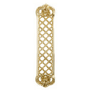 12 Inch Solid Brass Finger Push Plate: Trellis Lattice Work (Polished Brass Finish)