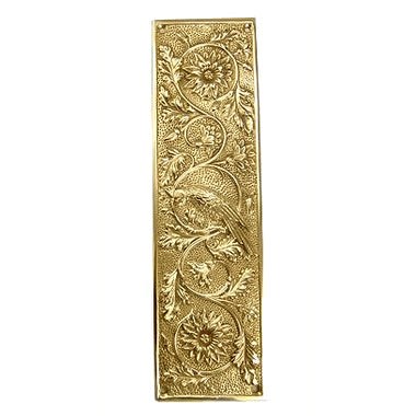 11 1/4 Inch Cockateel Bird and Flower Push Plate (Polished Brass Finish)