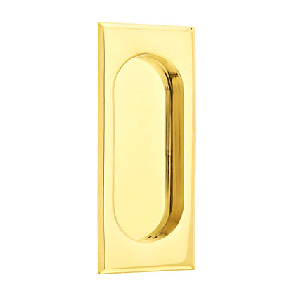 4 Inch Solid Brass Rectangular Flush Pull (Polished Brass Finish)