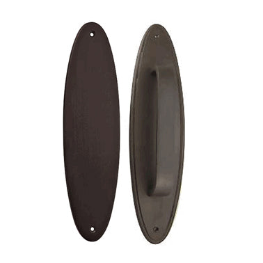 11 Inch Solid Brass Oval Push and Pull Plate Set (Oil Rubbed Bronze Finish)
