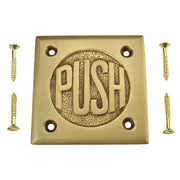 "2 3/4 Inch Brass Classic American ""PUSH"" Plate (Antique Brass Finish)"