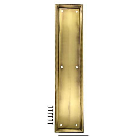 15 Inch Solid Brass Framed Push Plate (Antique Brass Finish)