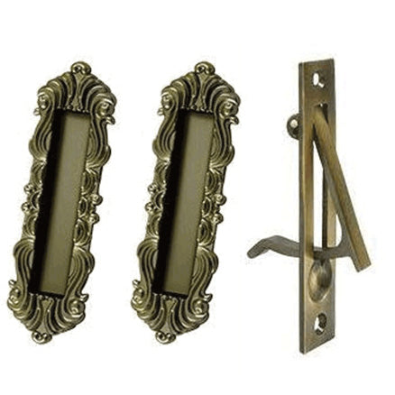 Victorian Style Heavy Duty Single Pocket Passage Style Door Set (Antique Brass Finish)