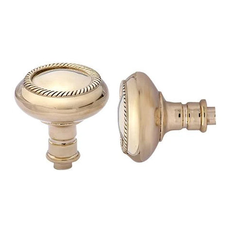 Solid Brass Georgian Roped Spare Door Knob Set (Polished Brass)