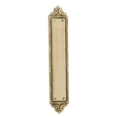 13 3/4 Inch Solid Brass Ribbon & Reed Push Plate (Polished Brass Finish)