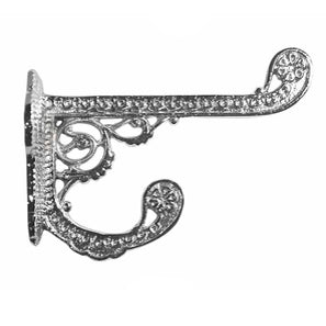 Solid Cast Brass Victorian Eastlake Style Hook (Polished Chrome Finish)