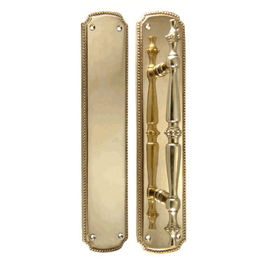 11 1/2 Inch Solid Brass Beaded Pull & Push Plate Set (Polished Brass Finish)