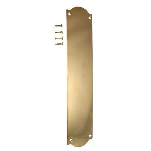 12 Inch Solid Brass Oval Push Plate (Polished Brass Finish)