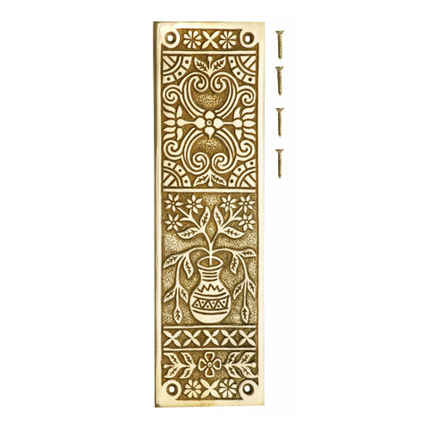 10 Inch Broken Leaf Pattern Solid Brass Push Plate (Lacquered Brass Finish)