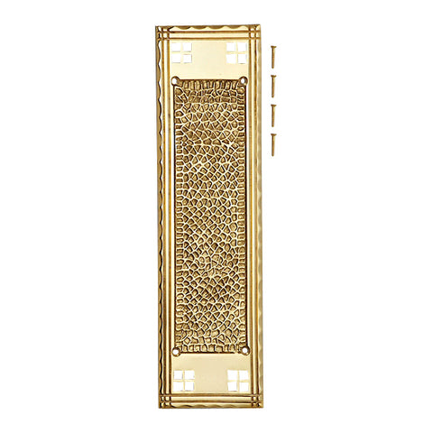 12 Inch Craftsman Style Push Plate (Lacquered Brass Finish)