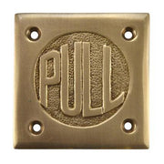 "2 3/4 Inch Brass Classic American ""PULL"" Plate (Antique Brass Finish)"