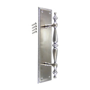 11 1/2 Inch Georgian Roped Style Door Pull and Plate (Brushed Nickel Finish)