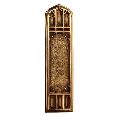 12 1/4 Inch Gothic Push Plate (Antique Brass Finish)