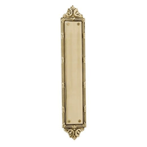 13 3/4 Inch Solid Brass Ribbon & Reed Door Pull and Push Plate (Polished Brass Finish)