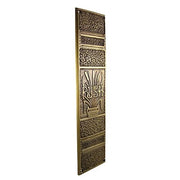 11 3/4 Inch Cattails Ornate Push Plate (Antique Brass Finish)