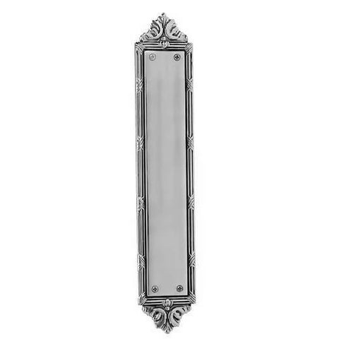 13 3/4 Inch Solid Brass Ribbon & Reed Push Plate (Polished Chrome Finish)
