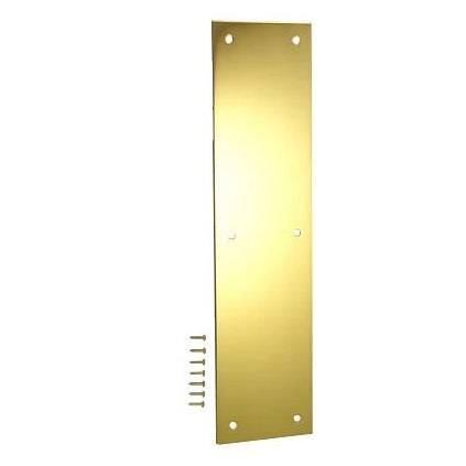 12 Inch Solid Brass Push Plate (Polished Brass Finish)