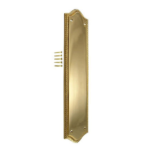 12 Inch Georgian Oval Roped Style Door Push Plate (Lacquered Brass Finish)