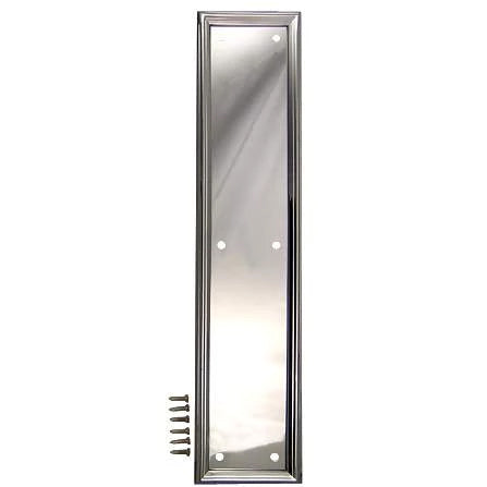 15 Inch Solid Brass Framed Push Plate (Polished Chrome Finish)